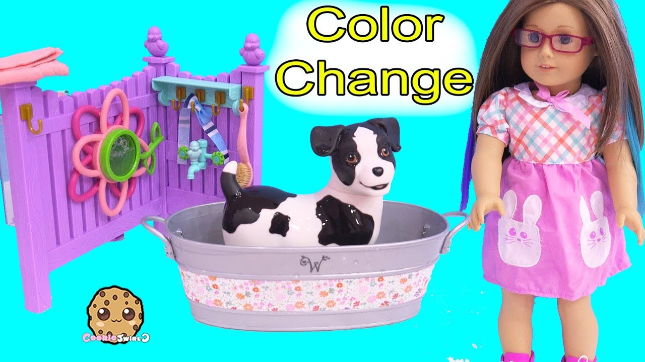 Water Color Changing Puppy Dog American Girl Bubble Bath Youtube