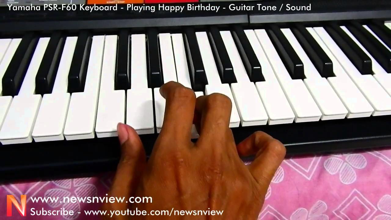 Yamaha Psr F50 Keyboard Playing Happy Birthday In Guitar Tone Sound