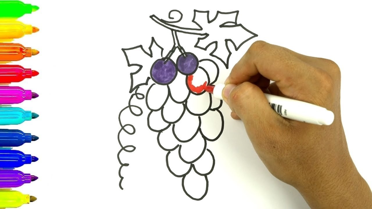 Como Dibujar un Racimo de Uvas - Dibujos Para Niños - Learn Colors ...