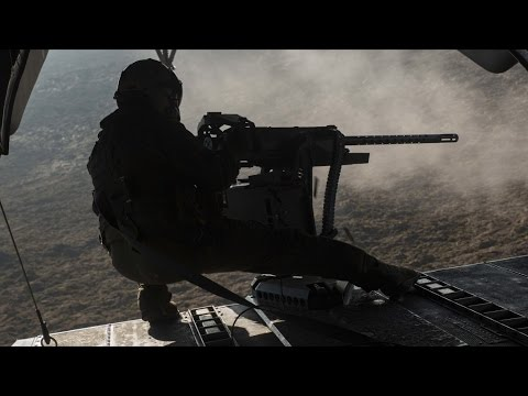 U.S. Military LIVE FIRE exercise! Sea Stallion helicopter – all GUNS BLAZING! (NOT combat situation)