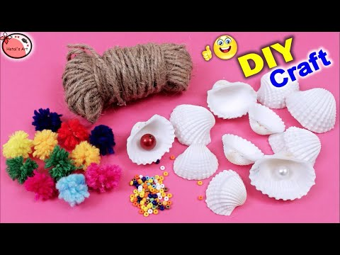 Beautiful Wall Decor Showpiece Making Using Jute and Oyster Shells || DIY Wall hanging Craft Ideas