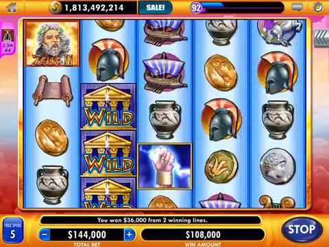ZEUS II Video Slot Casino Game with a FREE SPIN BONUS