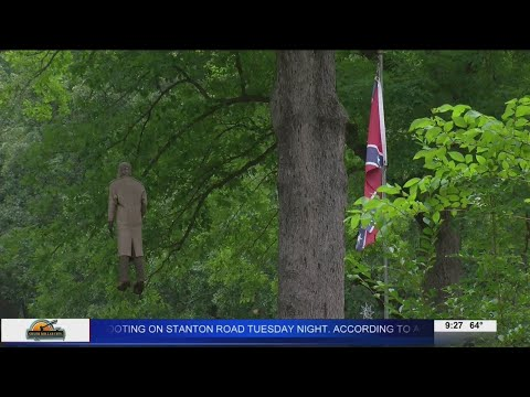 Neighbors furious after person hangs mannequin from tree next to Confederate Flag