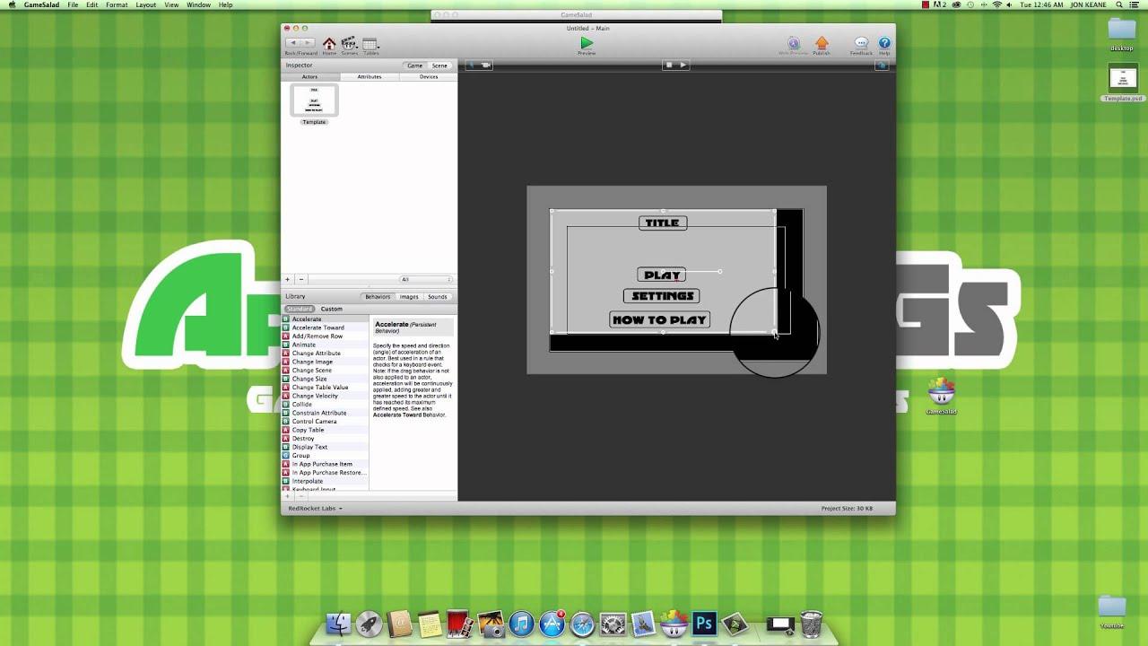 Gamesalad custom collider - Gamesalad Nav Menu Linking Buttons To Scenes