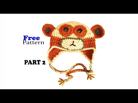 Free Crochet Pattern Monkey Hat Baby Beanie Part 2 Youtube