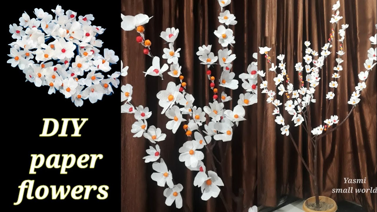 How to make Paper flowers tree   home decor ideas with less price  