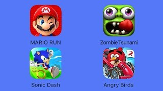 Super Mario Run, Sonic Dash, Zombie Tsunami, Angry Birds Go! (iOS Gameplay)