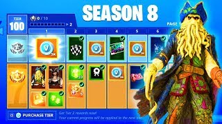 Fortnite SEASON 8 BATTLE PASS - FREE REWARDS, THEME, SKINS (SNOWFALL SKIN STAGE 4 KEY SEASON 7 END)