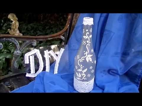 diy bastelidee deko flasche mit spitze ranke selber machen upsycling youtube. Black Bedroom Furniture Sets. Home Design Ideas