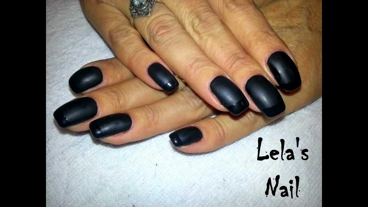 Opaque Black Shiny French Nail Art Tutorial