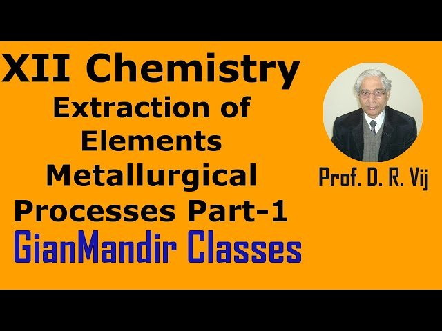 XII Chemistry | Extraction of Elements | Metallurgical Processes Part-1 by Gaurav Sir