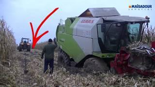 Ciężkie żniwa kukurydziane 2017 - zakopany kombajn, pęknięta lina.