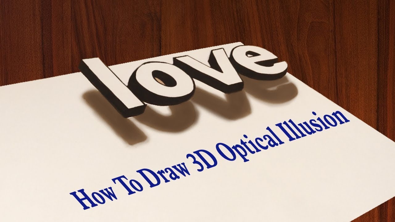 How to draw 3d floating letter illusion of love optical trick art simple graffiti