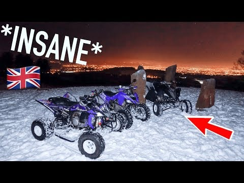 *INSANE* MOUNTAIN DRIFTING IN SNOW ON MY ATV!!