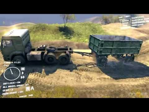 Spin Tires Dev Demo July 2013 - Kamaz Pulling a Wagon