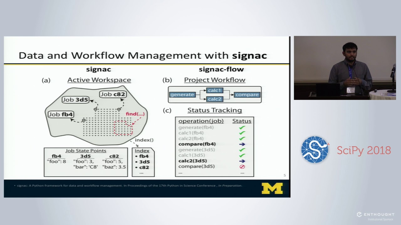 signac: A Python Framework for Data and Workflow Management | SciPy 2018 |  Vyas Ramasubramani