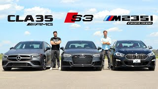 2020 Mercedes-AMG CLA 35 vs Audi S3 vs BMW M235i Gran Coupe // Face-Off