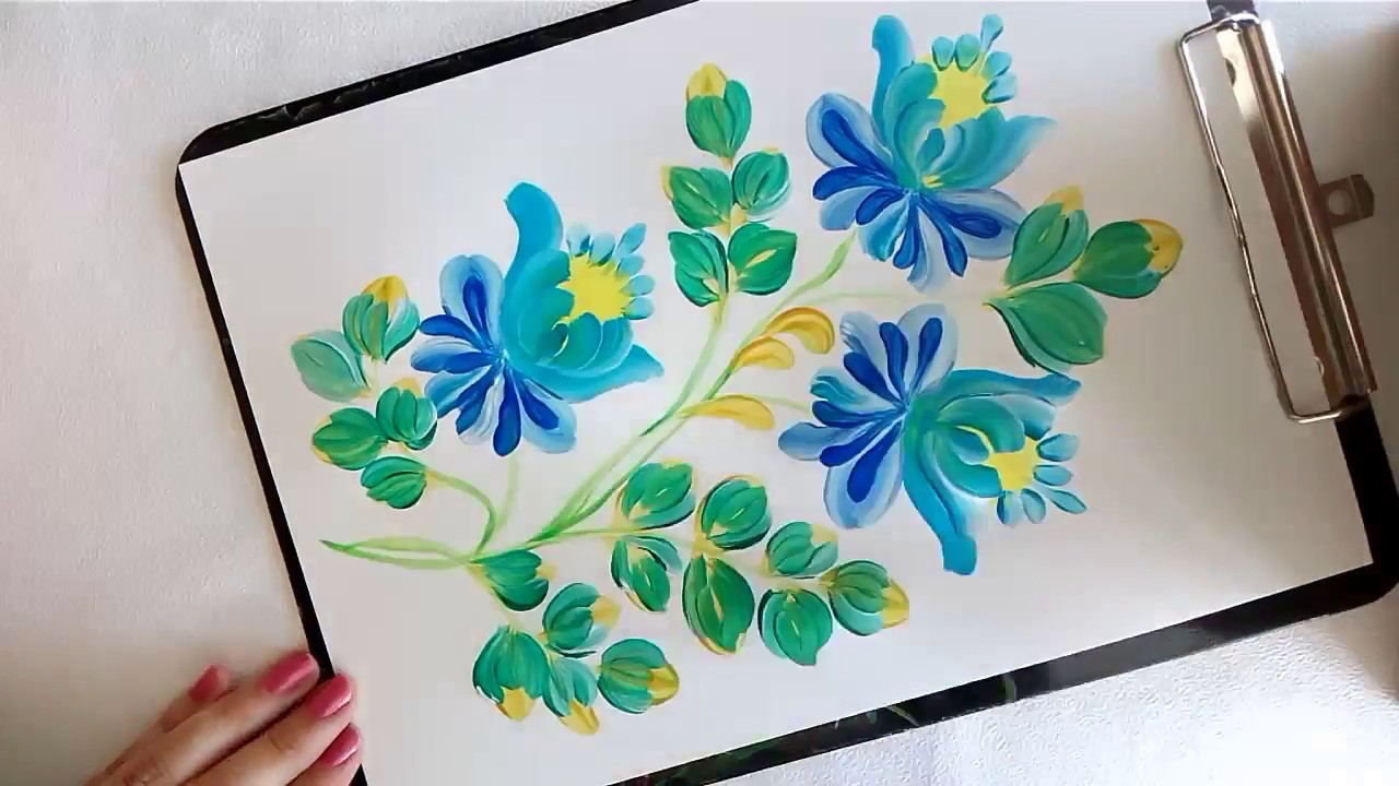 Folk Art Painting Flowers