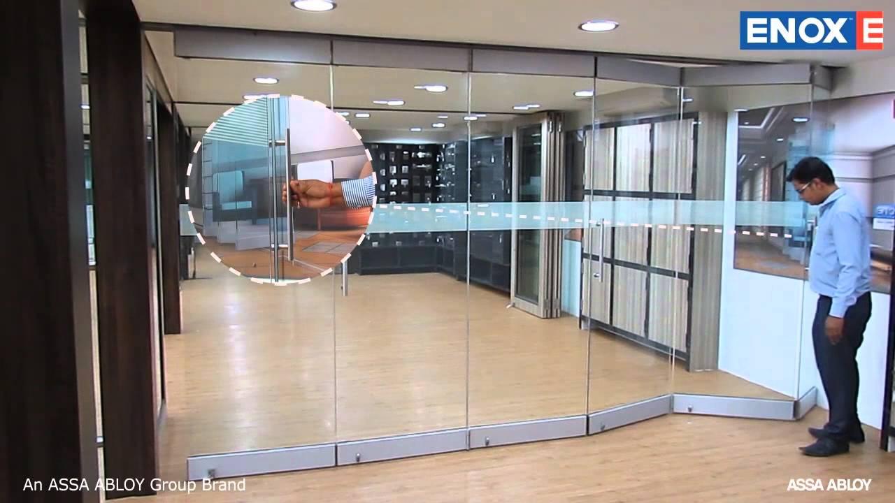 ENOX Glass Center Sliding Folding System EGSLDF 601  YouTube