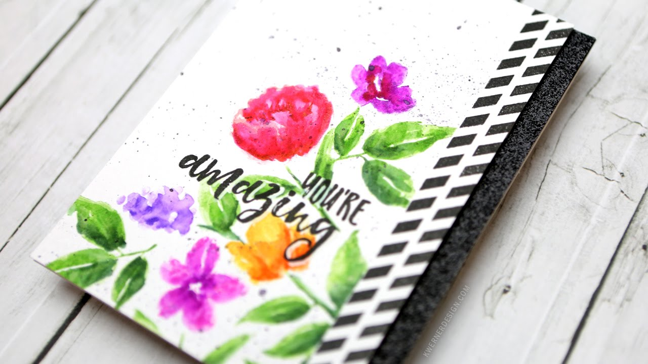 Stamped Watercolor Flowers (Zig Clean Color Real Brush Markers ...