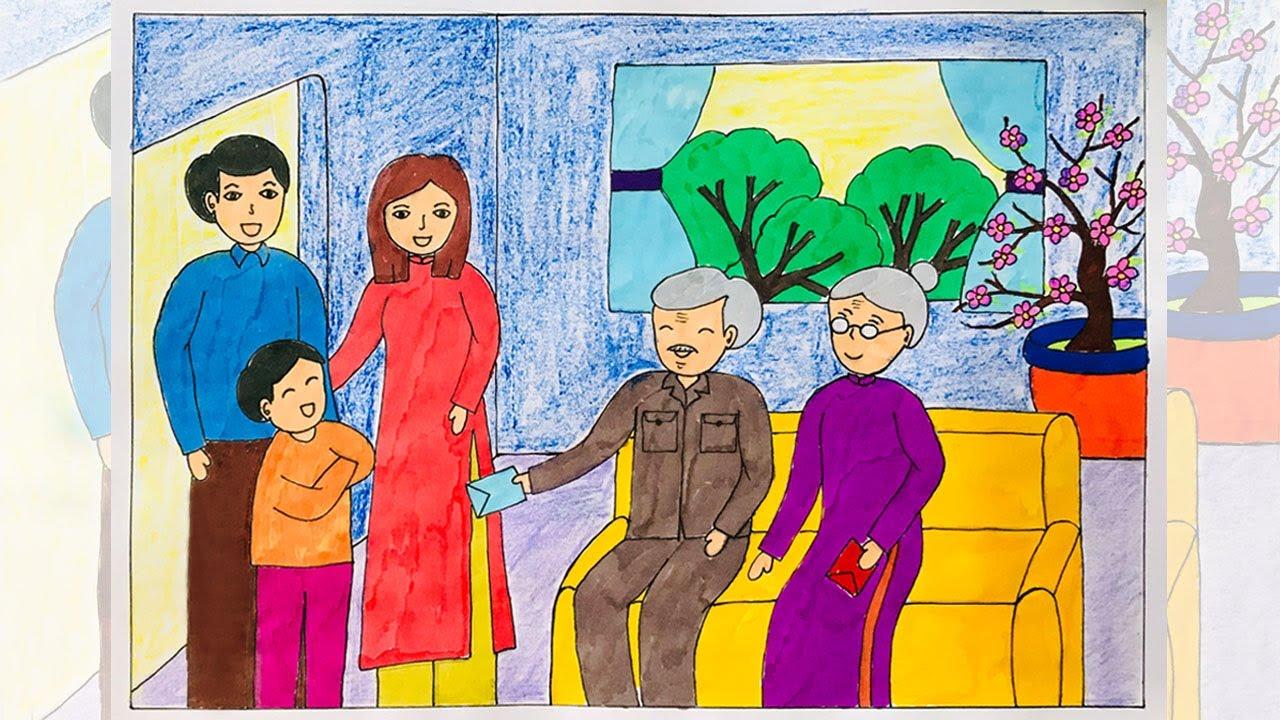 Vẽ tranh ngày tết | Vẽ tranh đề tài ngày tết và mùa xuân | Vẽ tranh gia đình chúc tết ông bà | Bao quát những tài liệu nói về vẽ tranh ngày tết và mùa xuân chuẩn nhất
