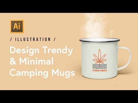 Design a Trendy & Minimal Camping Mug in Illustrator (420 Friendly)