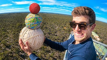 WORLD RECORD BOUNCE! Stacked Ball Drop Experiment from 45m Tower!
