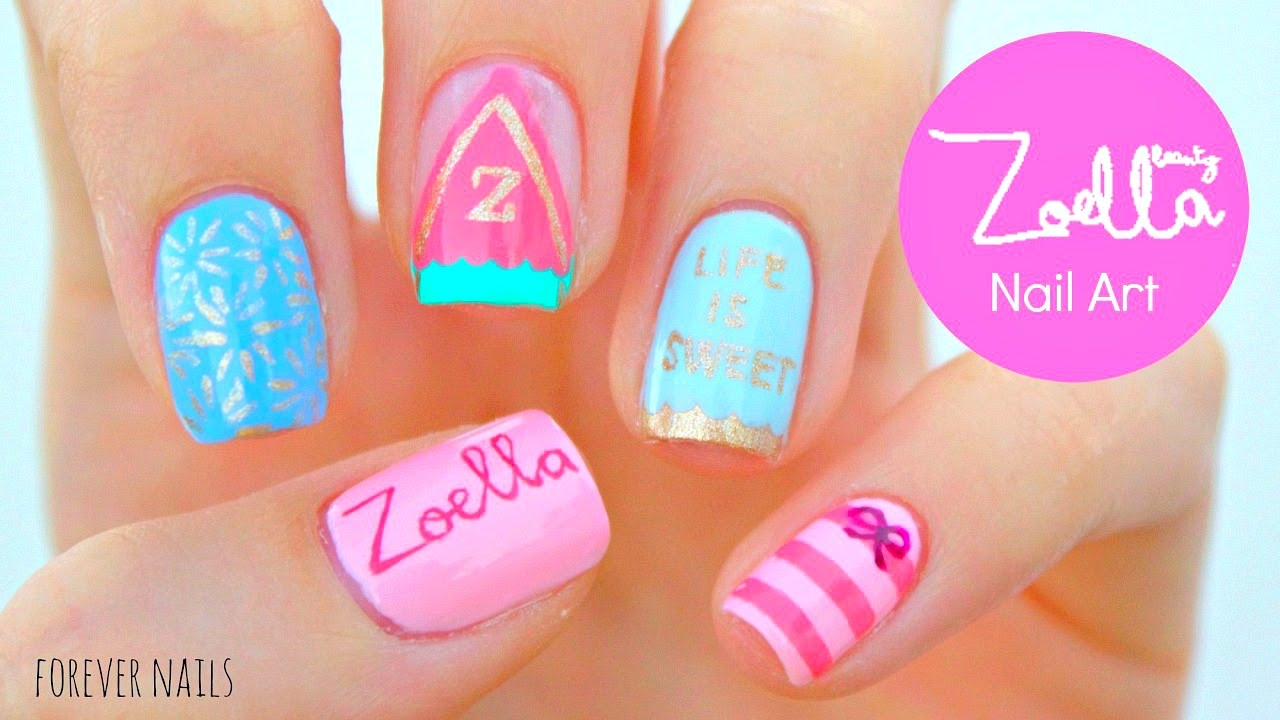 Zoella Beauty Nails | Sweet Inspirations - YouTube