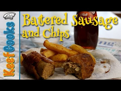 Battered Sausage And Chips - A British Chippy Takeaway Classic