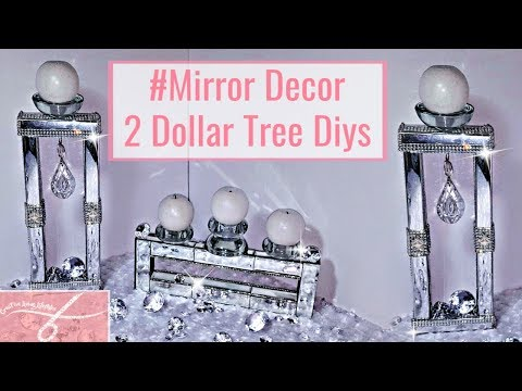 2 DIY Dollar Tree Mirrored Room Decor | DIY Designer Glam Candle Holders