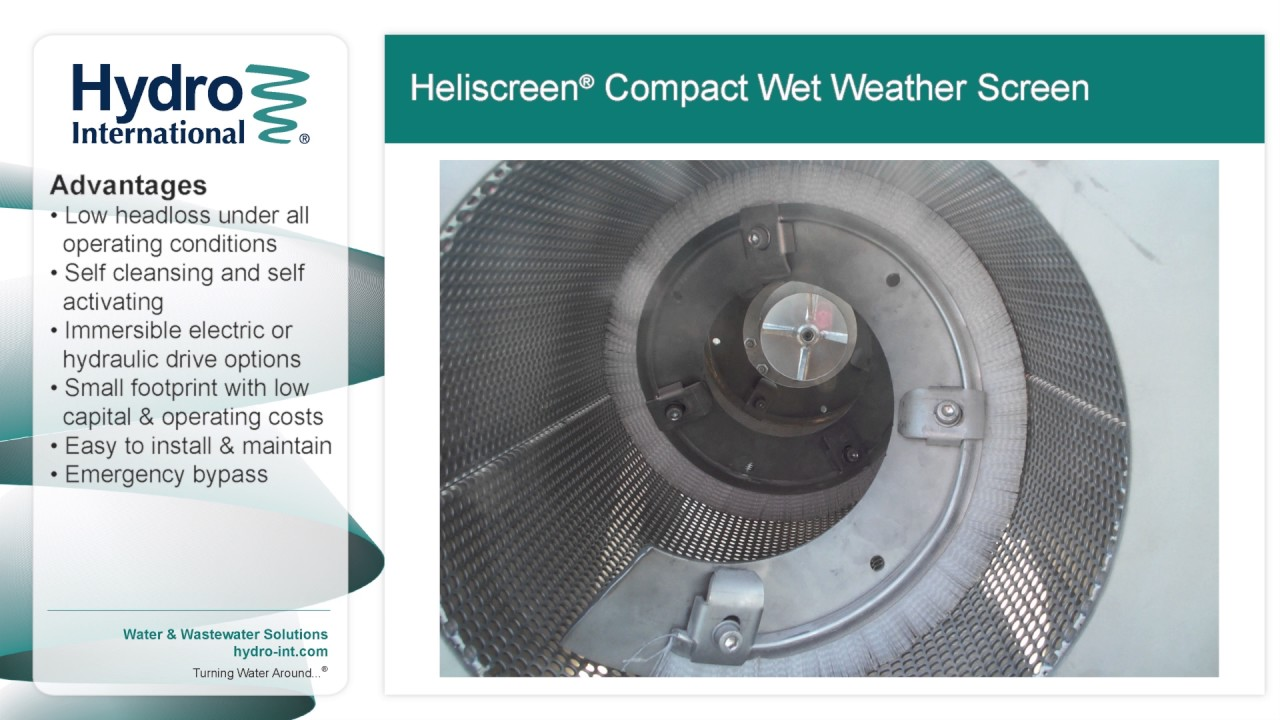 heliscreen compact wet weather screen from hydro international heliscreen compact wet weather screen from hydro international