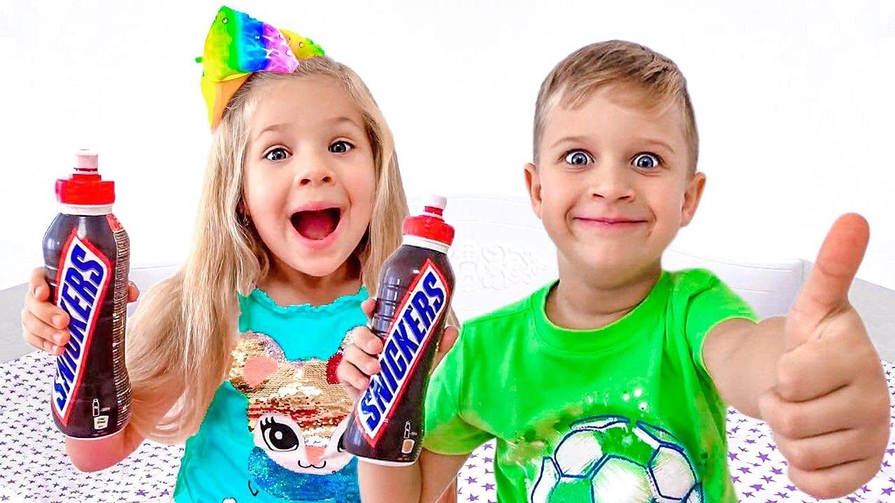 ديانا وروما يتذوقان مشروب اللبن المخفوق الشوكولاتة
