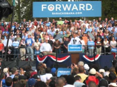 President Obama rallies the crowd in Dayton, Ohio Tuesday