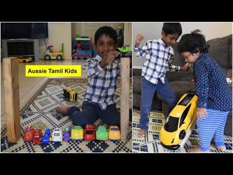 Simple Slide using Wooden Planks and Sofa for Car Toys - DIY in Tamil!
