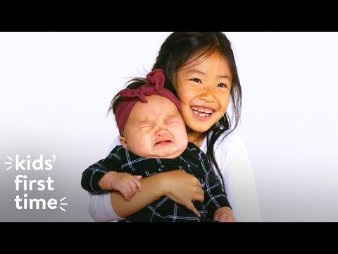 Little Kids Hold Babies for the First Time | Kids First Time | HiHo Kids