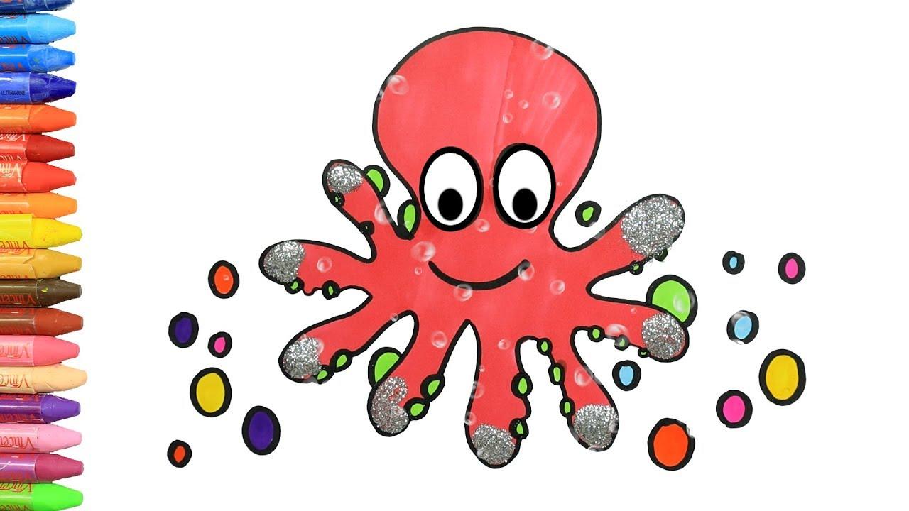 Cómo Dibujar y Colorear lindo Pulpo 🐙 | Dibujos Para Niños con MiMi 😺 | Aprender Colores 🎨
