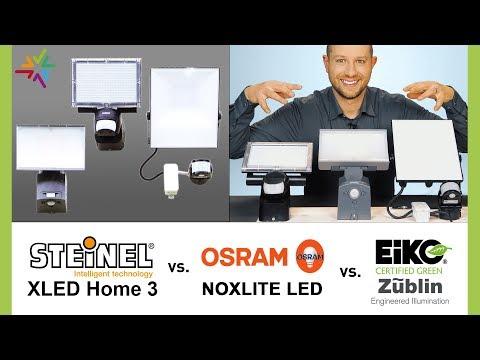 LED Aussenstrahler Vergleich und Test: STEINEL XLED home3 vs. OSRAM Noxlite vs. EIKO Floodlight