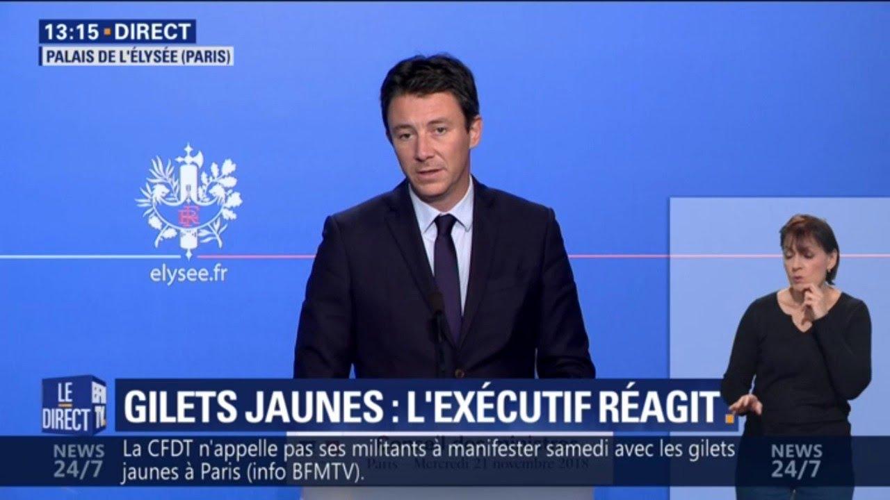 """Benjamin Griveaux sur les gilets jaunes: """"Il faut être intraitable sur l'ordre public&quot"""