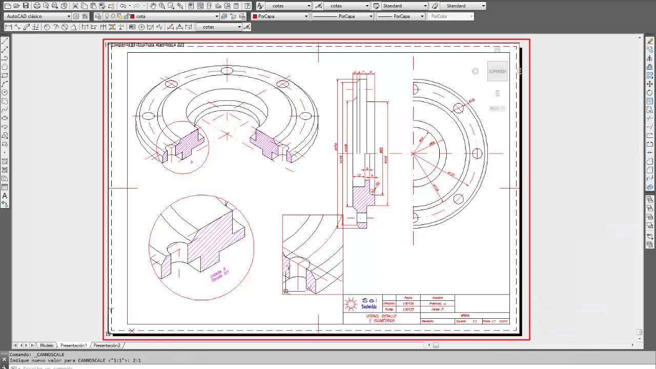 0223 curso autocad imprimir en espacio papel for Papel de pared gris