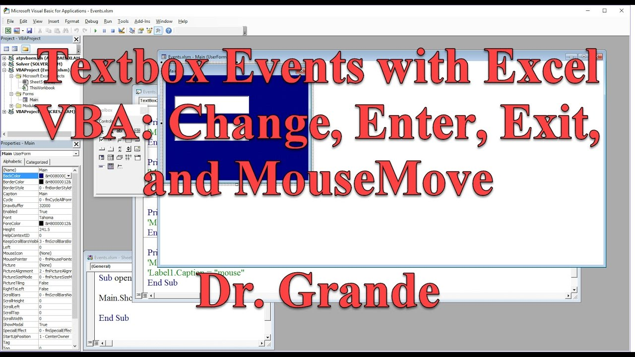Textbox Events to Run Subroutines with Excel VBA (Change, Enter, Exit, &  MouseMove)