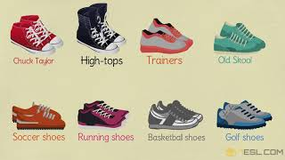 Athletic Shoes Vocabulary in English | Types of Shoes