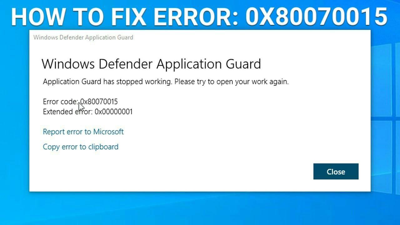Error Code 0x80070015 Windows 10 Install