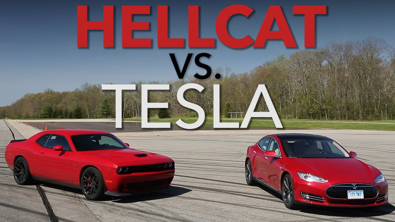 2015 Dodge Hellcat >> Track Science: Tesla P85D vs. Challenger Hellcat | Consumer Reports - YouTube
