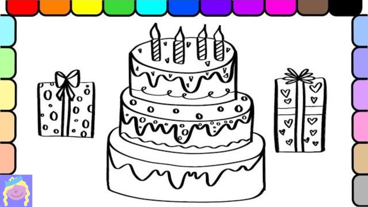 learn how to draw and color birthday cake and presents kids