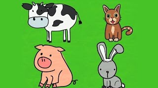 Обучающее видео для детей.  Учим животных (В доме, Во дворе, В лесу). Часть 1