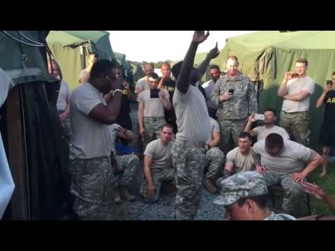 US Army soldiers singing jama(samanbo) with their Ghanaian colleagues