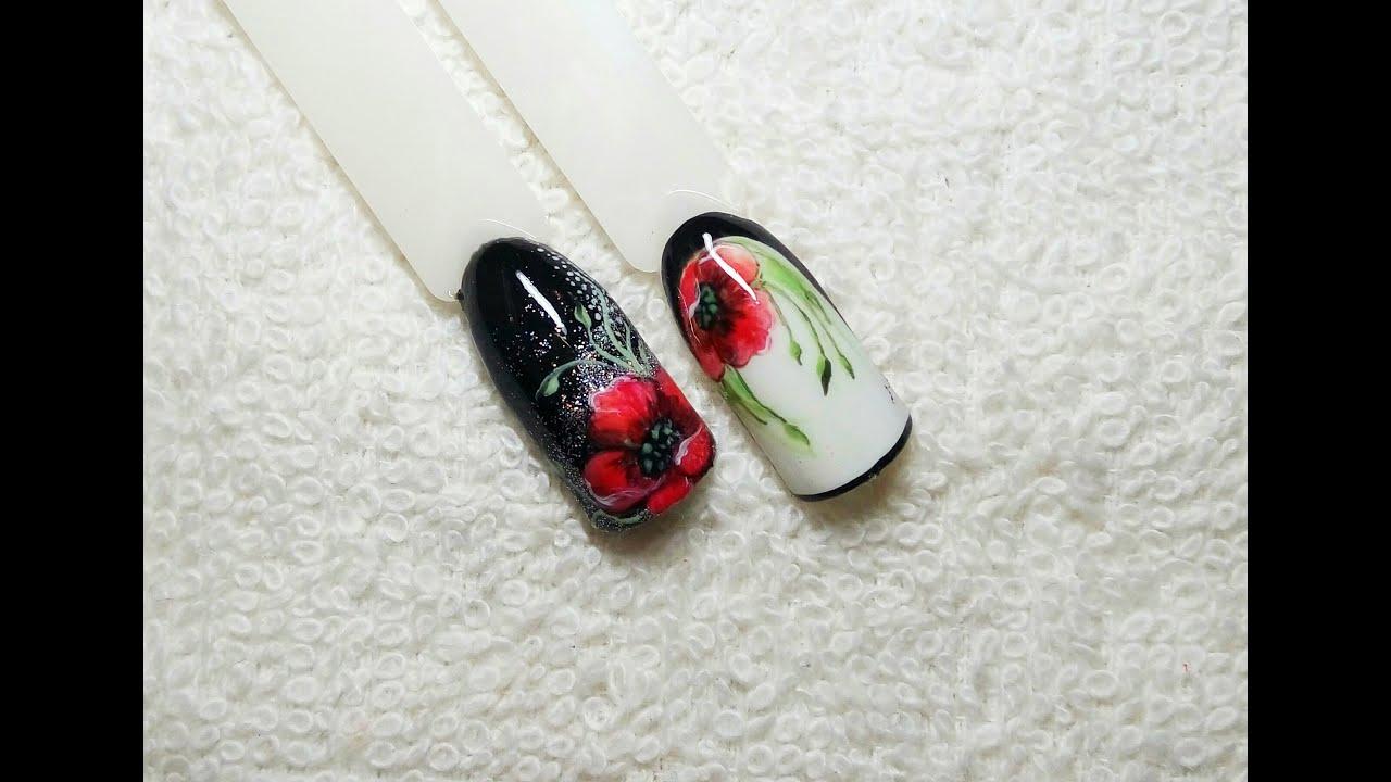 Ногти дизайн с маками фото