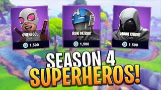 *NEW* SEASON 4 BATTLE PASS SUPERHERO THEMED SKINS! - Fortnite: Battle Royale