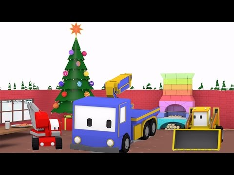 Christmas Preparation - Learn with Tiny Trucks: bulldozer, crane, excavator ,