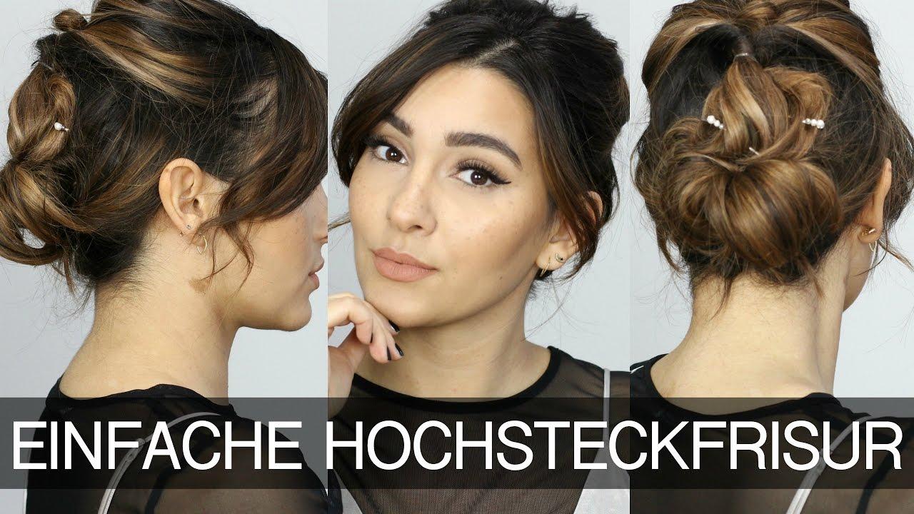 Einfache Hochsteckfrisur Für Mittellanges Haar Madametamtam Youtube